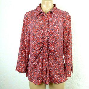 Laundry Ruched Shirt L Red Geometric Button front